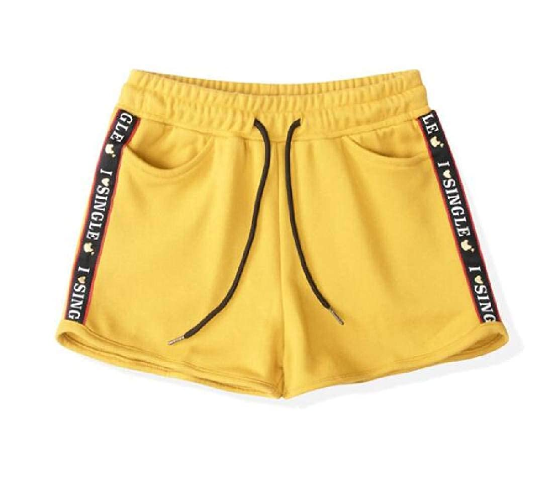 Domple Womens Athletic Elastic Waist Drawstring Sweatpant Casual Sport Shorts