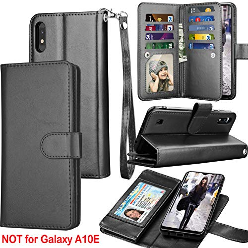 Galaxy A10 Case, Galaxy M10 Wallet Case, Luxury Cash Credit Card Slots Holder Carrying Folio Flip PU Leather Cover [Detachable Magnetic Hard Case] & Kickstand Compatible Samsung Galaxy A10 [Black]