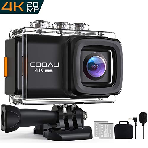 COOAU Action Camera 4K 20MP HD WiFi 98ft Waterproof Sports Camera Underwater Camcorder, 170° Wide-Angle with EIS Sony Sensor, External Mic, Carrying Case Includes Mounting Accessories and 2 Batteries - Helmet Ea Chargers