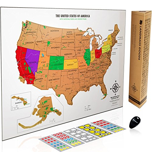 Scratch Off Usa Map   With National Parks  Capitals  Peaks And Highways   Scratch Off Your Travel Memories In America  Stunning Gift For Travelers  By Landmass Goods