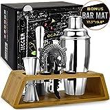 Bar Tools Bartender Tool Kit with Bonus Bar Mat (11 Piece) | Premium
