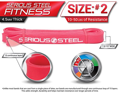 Serious Steel Fitness Beginner Assisted Pull-up &Crossfit Resistance Band Package#2, 3 Band Set (10-80 lbs) FREE Pull-up and Band Starter e-Guide by Serious Steel Fitness (Image #2)