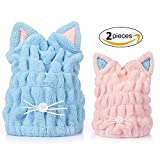 Soft Microfiber Cute Cat Ear Hair Drying Cap Super Absorbent Quick Drying Hair Towel Wrap With Coral Fleece For Womens Girls Ladies Bath Accessories (2pcs)