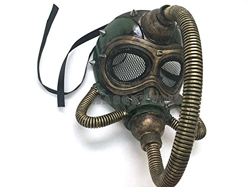 Halloween Costume Cosplay Steampunk Dress up Party Masquerade Gas Mask with Hose (Green (All Black Halloween Contacts)