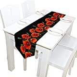 ALAZA Table Runner Home Decor, Stylish Red Poppy Flowers Table Cloth Runner Coffee Mat for Wedding Party Banquet Decoration 13 x 90 inches