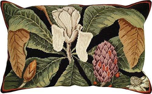 EuroLuxHome Throw Pillow Needlepoint Magnolia 18x28 Polly Insert Wool Cotton Velvet ()