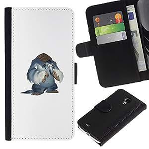 KLONGSHOP // Tirón de la caja Cartera de cuero con ranuras para tarjetas - Monster Yeti - Samsung Galaxy S4 Mini i9190 //