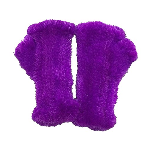 BeFur Unisex Winter Arm Warmer Women Knit Fur Fingerless Gloves