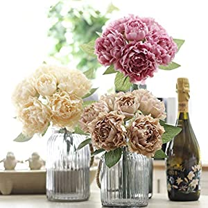 XGM GOU Oil Painting Rafi Flower Bouqute Silk Artificial Wedding Rose Flowers 6 Heads Fake Peony for Home Decoration with Leaf HI-Q 53