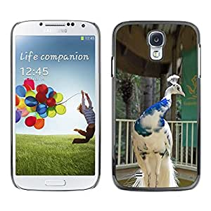 FlareStar Colour Printing Peacock Bird Porcelain White Blue Crown cáscara Funda Case Caso de plástico para SAMSUNG Galaxy S4 IV / i9500 / i9515 / i9505G / SGH-i337