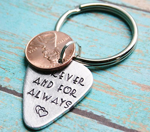 Keychain Penny Forever And For Always Guitar Pick Key Chain Penny Hand Stamped Charm With ONE Penny Stacked 1950 to 2018 Anniversary Gift Memorial Remembrance Gift Memento Choose up to - Arrive Time Class Mail First For To
