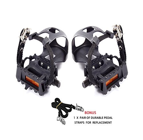 AbraFit 9/16 Inch Premium Quality Bicycle Pedals with Toe Clips and Straps,Comes With One Extra Pair of Straps for Replacement