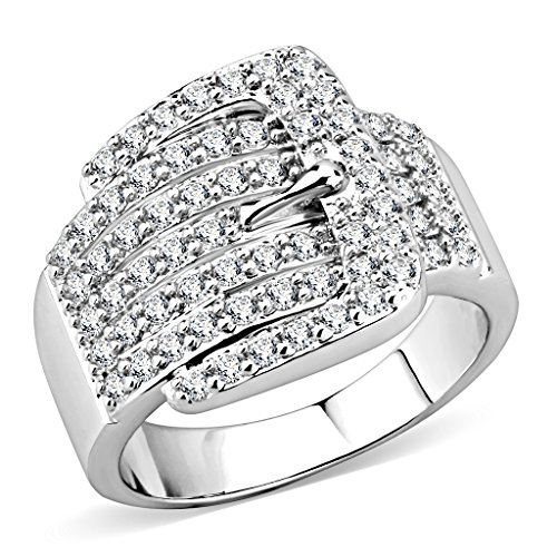 ia Belt Buckle Ring Chunky Statement Cocktail Ring (7) ()