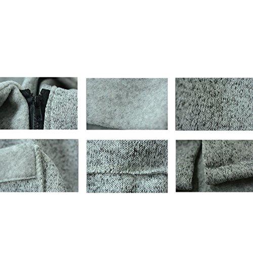 con Deylaying alto Outwear Mujeres más invierno Gris largo Jacket cremallera Único Casual claro cuello sudadera bolsillos Coat tamaño q7rqF