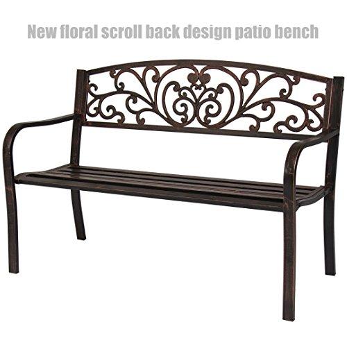 Garden Patio Steel Bench Outdoor Yard Furniture Deck Park Porch Antique Bronze Flower Scroll Back Design Chairs #1248 (Patio Lots Jacksonville Fl Big Furniture)