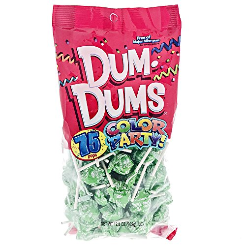 Green Candy Buffet (Bright Green Dum Dums Color Party - Sour Apple Flavored - 75 Count Bag - 12.8 ounces - Includes Free How To Build a Candy Buffet)