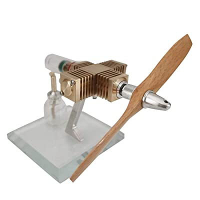 Yamix Stirling Mini Engine Model Toy- Wooden Propeller Aircraft Head Shape: Toys & Games