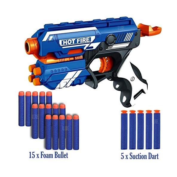 UJIE® Blaze Storm Soft Bullet Gun with 15 Foam Bullets & 5 Suction Dart Bullets (HOT FIRE36-20 Bullets)