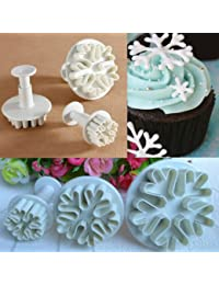 Buy 3 Pcs Snowflake Fondant Cake Cookie Plunger Frozen Cake Cutters USA SHIPPING wholesale