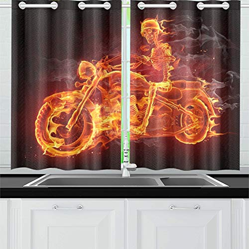 JIUCHUAN Fire Skeleton Riding Motorcycle Kitchen Curtains Window Curtain Tiers for Café, Bath, Laundry, Living Room Bedroom 26 X 39 Inch 2 Pieces -