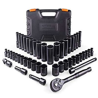 """?Christmas Selection?TACKLIFE Upgraded 46pcs 3/8"""" Drive Socket Set, 72-Tooth Ratchet with 40pcs Metric & SAE Sockets, Extension Bars, Spark Plug Sockets, Universal Joint – SWS2A"""