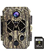 TIDEWE Trail Camera with 32GB SD Card, 32MP 4K Hunting Camera with 0.2s Trigger 3 PIR, 120° Range Night Vision 45 LEDs Waterproof Scouting Camera for Wildlife Monitoring, Home Security, No Battery