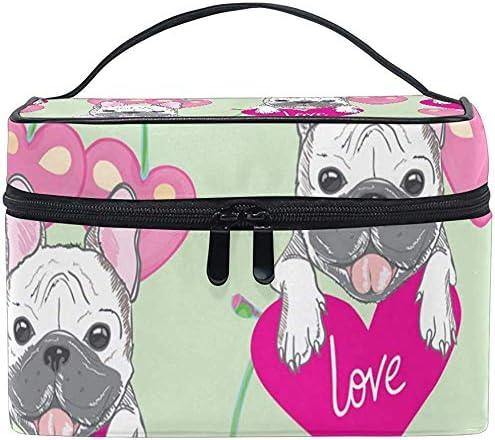 Bolsa de cosméticos, Bulldog Pattern Travel Makeup Organizer Bag ...