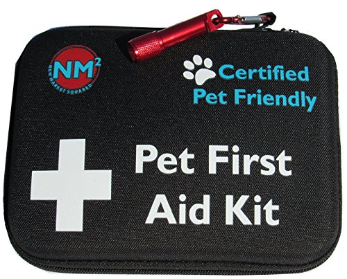 Pet First Aid Kit for Dogs & Cats | 45 Piece First Aid Bag for Pets, Animals | Perfect for Travel Emergencies with Pet First Aid Guide Book and Instructions | Certified Pet Friendly | FDA Approved by New Market Squared
