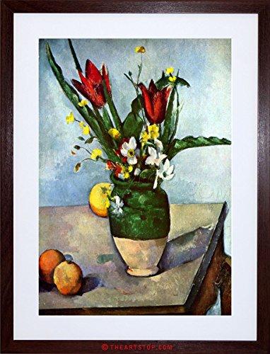 Painting Cezanne Still Life Tulips Apples Framed Picture Art Print F97X8268 (Cezanne Still Life Apples)