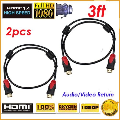 Premium High Speed GOLD HDMI Cable V1.4 1080p 3D Support 3 Ft 1.0M w/Ferrite Cores ()