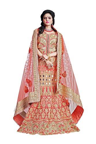 IWS Silk Fabric Salmon Pretty Lehenga Style With Embroidery Work Dupatta 79525