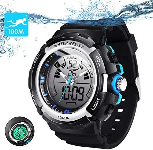 TEKMAGIC 10ATM Waterproof Digital Scuba Diving Watch 100m Underwater for Swimming and Running with Stopwatch and Luminous LCD Display Built-in