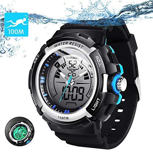 TEKMAGIC 10ATM Waterproof Digital Scuba Diving Watch 100m Underwater for Swimming and Running with Stopwatch and Luminous LCD Display Built-in - Electro Luminescent Analog