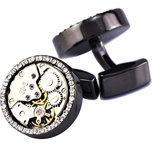 Pavaruni Original Cufflinks 50+Color Steam Punk Watch Movement Automatic Mechanical Vintage Novelty (Crystal1-Black) from Pavaruni