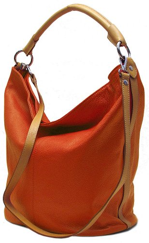 Floto Womens [Personalized Initials Embossing] Sardinia Tote Bucket Bag in Sunset Orange Pebbled Calfskin Leather