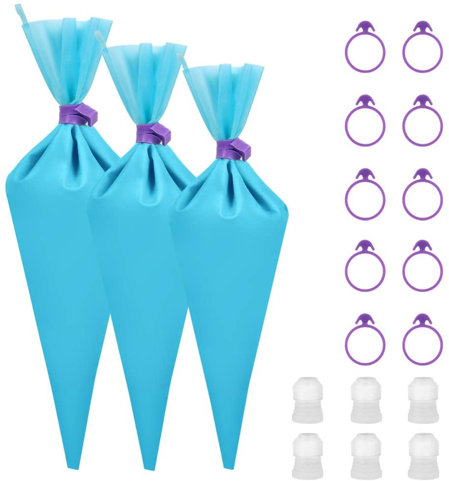Kootek 28 Pcs Cake Decorating Tools with 12 Reusable Silicone Piping Pastry Bags 3 Sizes (12