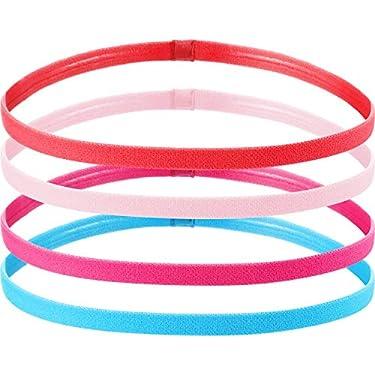 4-Piezas-Diadema-Deportiva-Elastico-Antideslizante-Grueso-Cinta-de-Pelo-para-Mujeres-y-Hombres-Naranja-Fluorescente-Azul-Rosa-Roja-Rosa