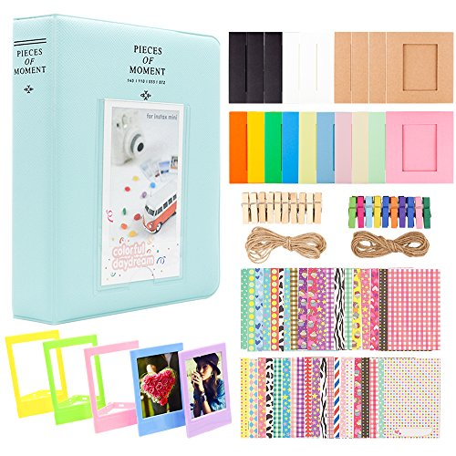 Ablus 2x3 Inch Photo Paper Film Album Set for Fujifilm Instax Mini Camera, Polaroid Snap, Z2300, SocialMatic Instant Cameras & Zip Instant Printer (64 Pockets, Ice Blue)