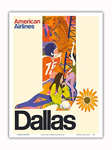 Pacifica Island Art - Dallas, Texas - Cowboy Boot with Sunflower Spur - American Airlines - Vintage Airline Travel Poster c.1960s - Master Art Print - 9in x 12in
