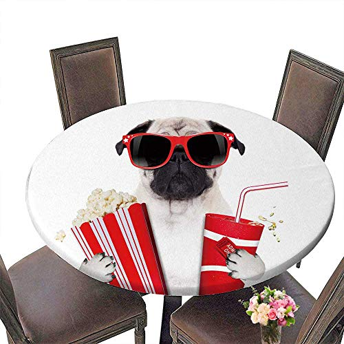 Man Spider 3 Placemat (PINAFORE Round Tablecloths Cinema Movie tv Watching Pug Dog Isolated on White with Popcorn and sodawearing 3D Glasses Dinner, Parties 50