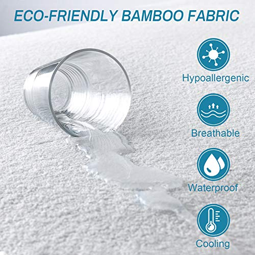 Zerohub Premium Cooling Bamboo Mattress Protector, Waterproof Breathable Hypoallergenic Mattress Cover, Machine Washable Mattress Pad Cover, Queen