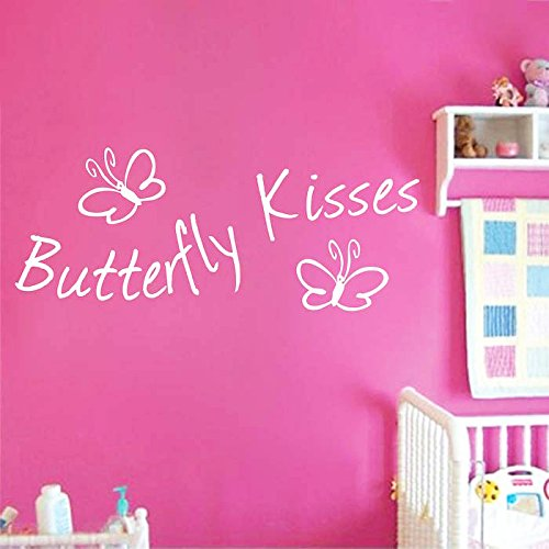 Dailinming PVC Wall Stickers English BUTTERFLY KISSES butterfly children's room only for home decorationWallpaper25.4cm x (Aqua Butterfly Kisses)