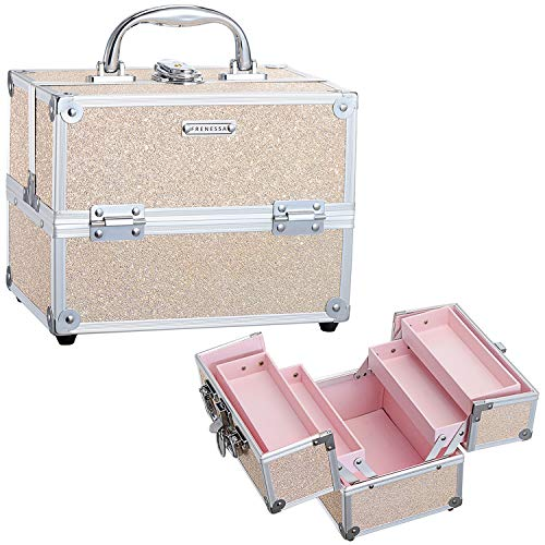 Frenessa Portable Makeup Train Case Cosmetic Box - 4 Tier Trays Jewelry Storage Organizer with Lockable Baby Pink Lining for Women and Girls - Gold