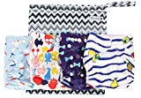 Cloth Diapers 4 Pack Adjustable Size Waterproof Washable Pocket Baby Cloth Diaper Cover and Inserts with Wet bag by Anmababy(Blue)