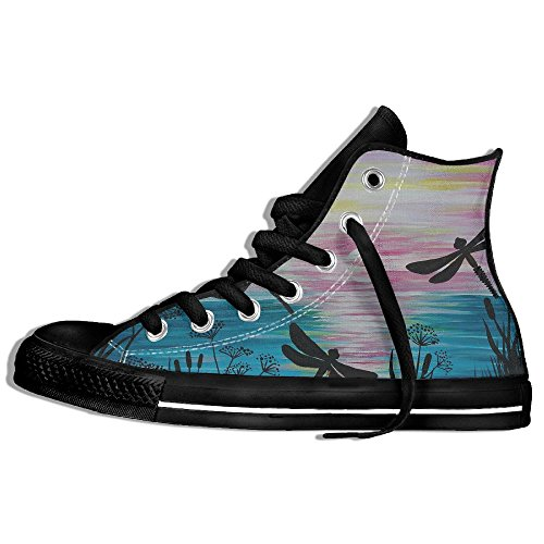 Classic High Top Sneakers Canvas Shoes Anti-Skid Dragonfly Art Casual Walking For Men Women Black 0QiWjxT