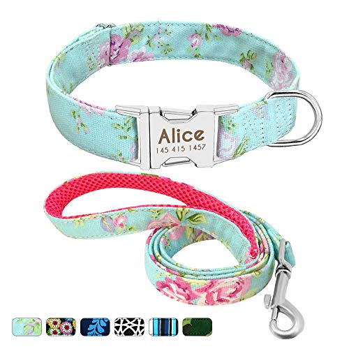 - Beirui Personalized Nylon Dog Collar and Leash Set - Custom Dogs Collars with 4FT Dogs Leashes - Adjustable Engraved Pet Collars Matching Leads Fit Small Medium Large Dogs,Mint Green Floral,S