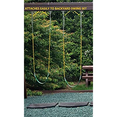 """OLIVIA & AIDEN Heavy Duty Swing Seat with Rubber Coated 66"""" Chain, Tree Swing Straps, Mounting Caribiners 