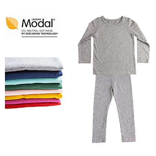 Modal Cotton Thermal Long Underwear Set Breathing Base Layer Long John Pajama for Boy Girl Toddler (5~6 Year, Gray)
