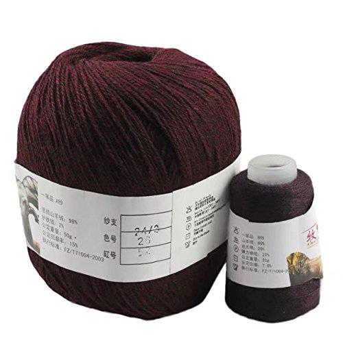 Celine lin Super Soft Pure Cashmere knitting Yarn Baby Thread Crochet Cotton Warm Yarn,Rust - Cotton Limited Pure