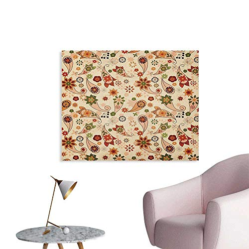 Anzhutwelve Paisley Photographic Wallpaper Floral Design with Spring Motifs and Paisley Elements Oriental in Ethnic Design Poster Paper Multicolor W48 xL32